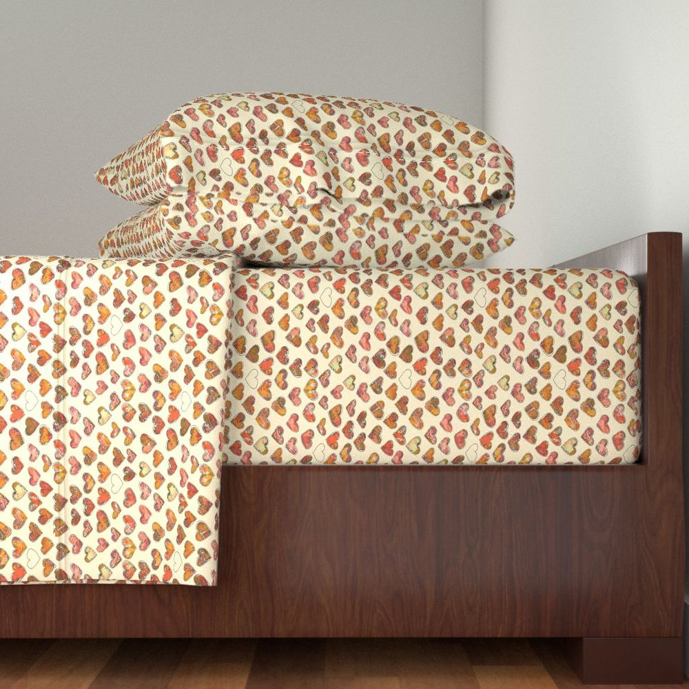 Fall Floral Hearts Sheet Set