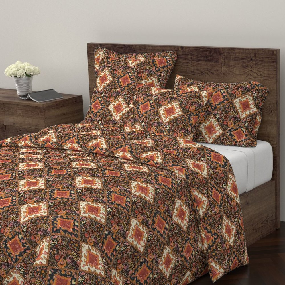 Fall Floral Log Cabin Duvet Cover
