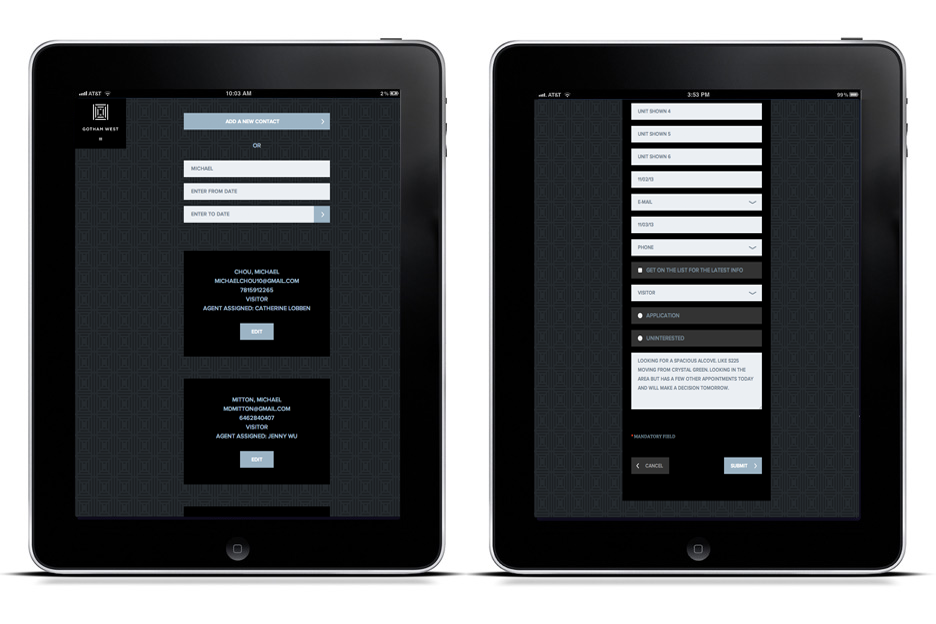 iPad CRM application