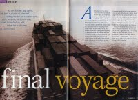 Final Voyage essay. Essay and photos in HM Magazine, 2006