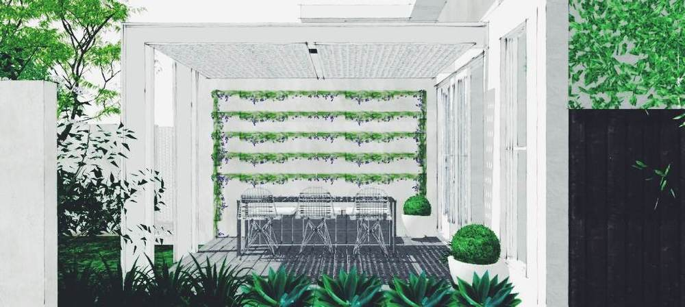 Vertical lines @ 300mm spacings -- a contemporary green wall, without the upkeep of a modular green wall