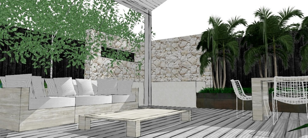An L-shaped feature wall acts as a BBQ alcove and creates a feeling of intimacy for the large space.