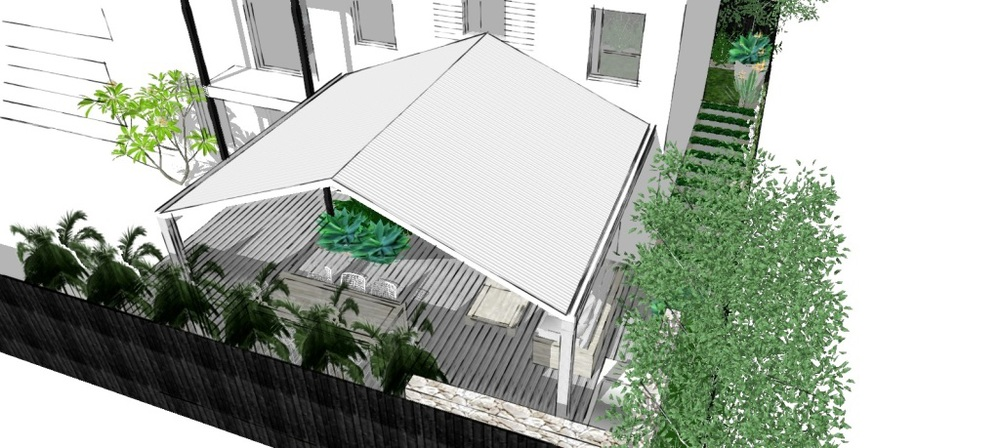 The pitched roof is central to the proposed bi-fold doors to allow for a symmetrical connection to indoors.