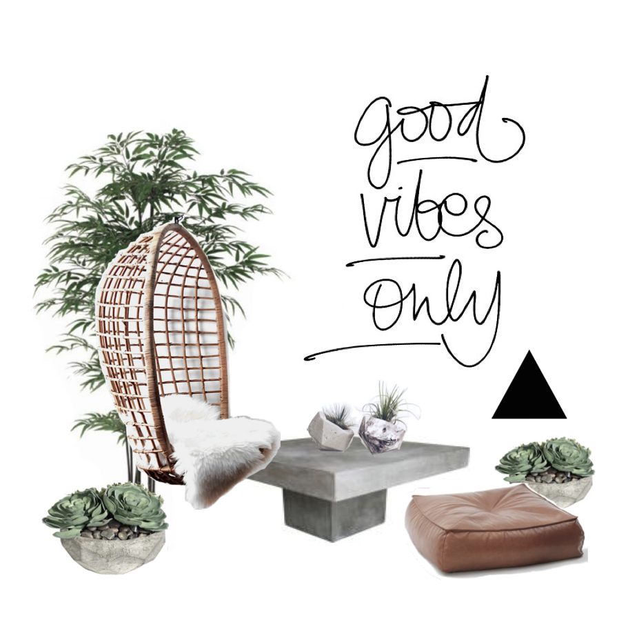 A little mood board I put together for a small garden space including Little Grey Thumb 'Angles'.