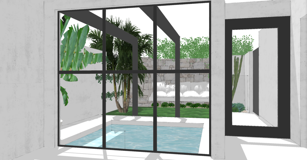 Pool Courtyard SketchUp 01 | Slightly Garden Obsessed