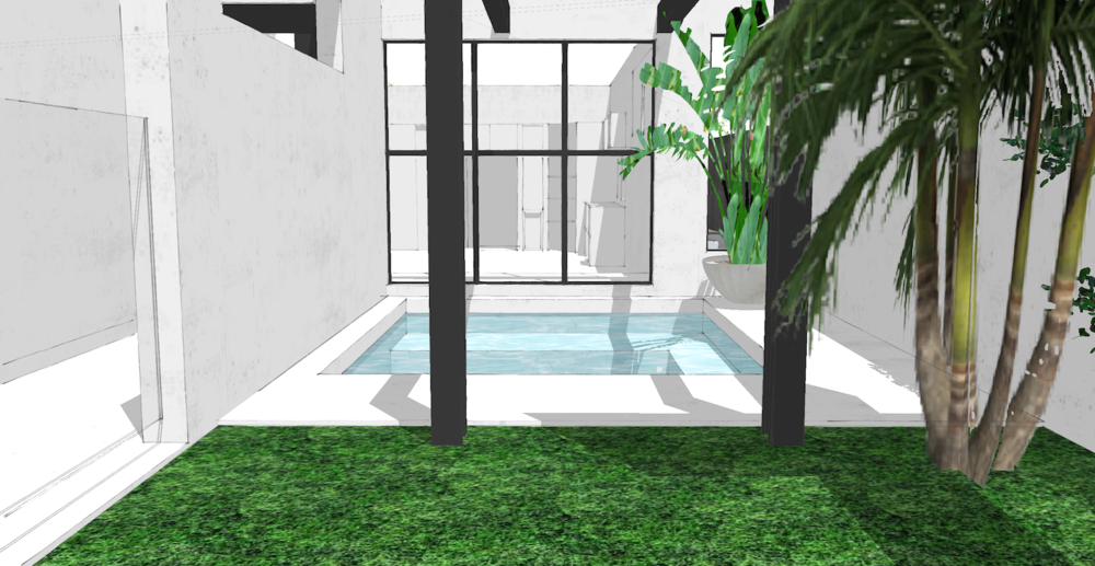 Pool Courtyard SketchUp 02 | Slightly Garden Obsessed