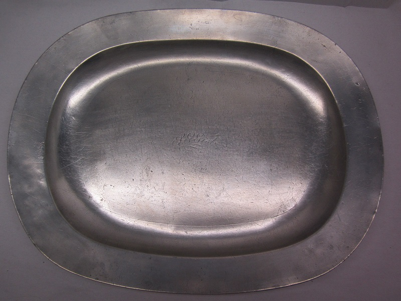 "impressive 20 1/4"" oblong 19th c platter item #br-637"