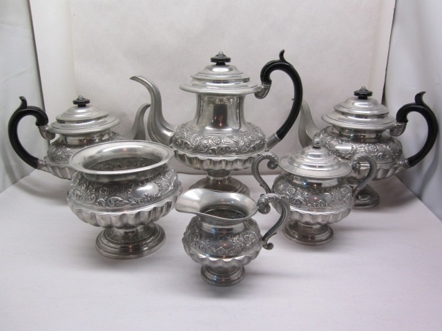 awesome 1830 dixon six-piece tea set  item #8-843