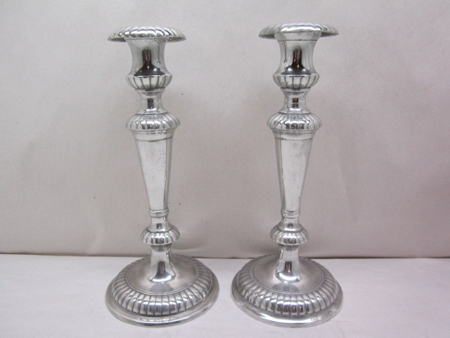 "10 1/4"" meriden britannia co fancy candleholders  item #8-849"