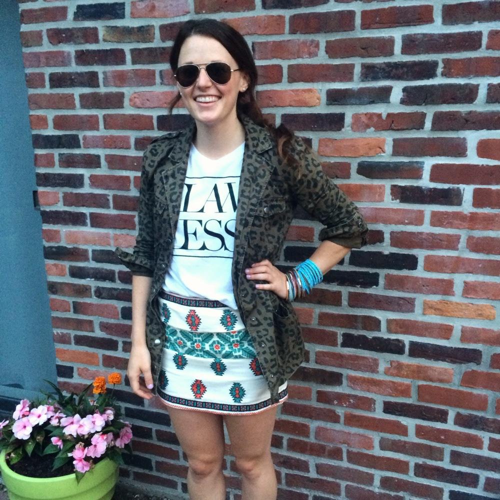 Day 3: Zara skirt, Forever 21 jacket, aviators and stack of assorted bracelets