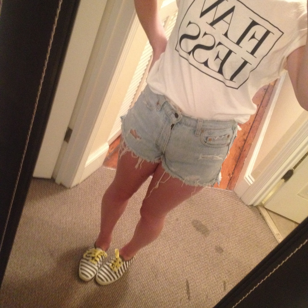 Day 4: Vintage high waisted Levi's shorts, Kate Spade for Keds canvas sneakers
