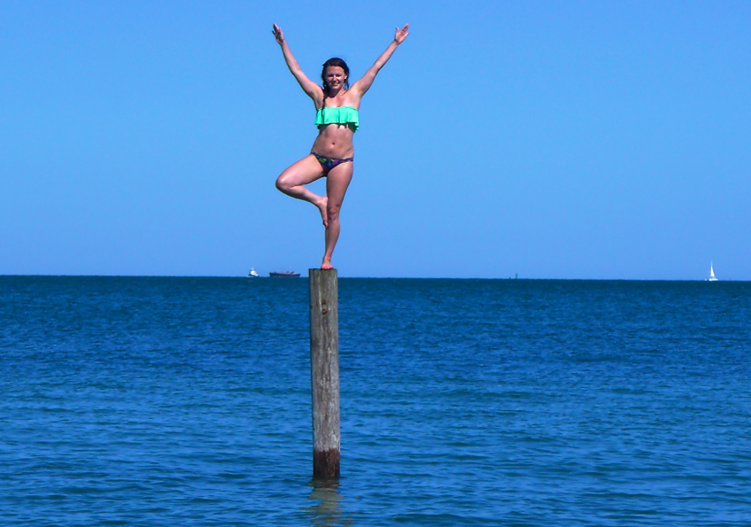 Day 2: Victoria's Secret bikini bottoms and some acrobatic skills to accessorize the bandeau top today.