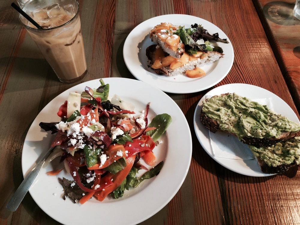 rose establishment salad coffee avocado peaches toast