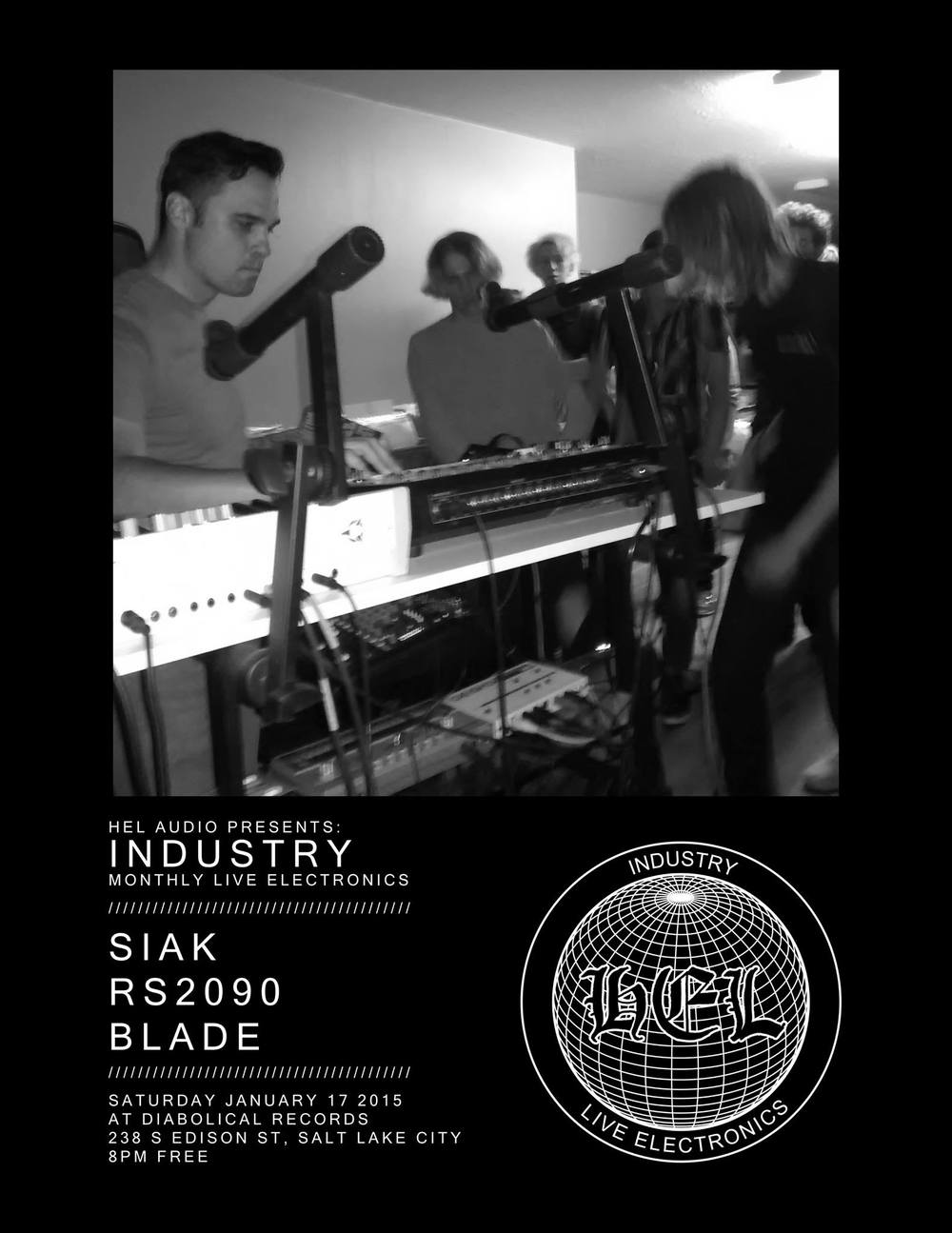 INDUSTRY  is Hel's first compilation, and an attempt to catalog and document the Utah experimental electronic scene as it stands in the year 2014. Collecting tracks from Hel regulars (OK Ikumi, RS2090, Mooninite), scene veterans (Siak, Cerci), and newcomers (Vistaas, Jordan Swain, MONOL!TH) in various electronic styles; from the electro and techno sounds the scene was formed around to the abstract splinterings of the modern soundscape.