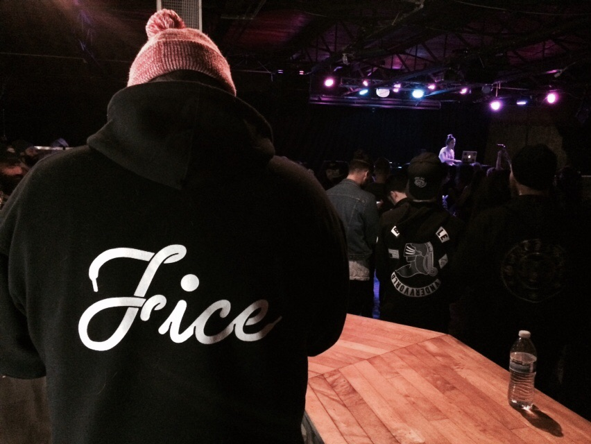 Sweatshirt: Fice vs. NCM, Model Grady Evans, DJ: Choice