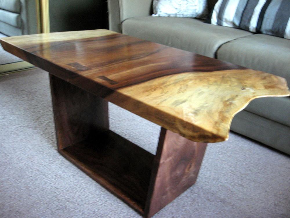 acacia and walnut coffee table