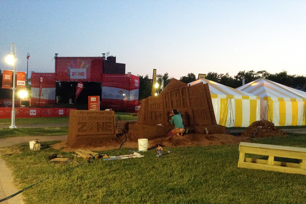 "The PEI 2014 Celebration Zone's ""Home of Confederation"" Sand Installation"