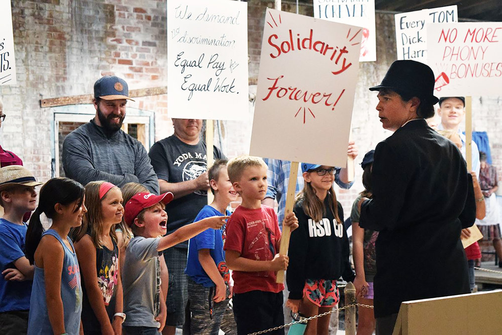 """Medalta on Strike"" Reenactment Protest Scene"