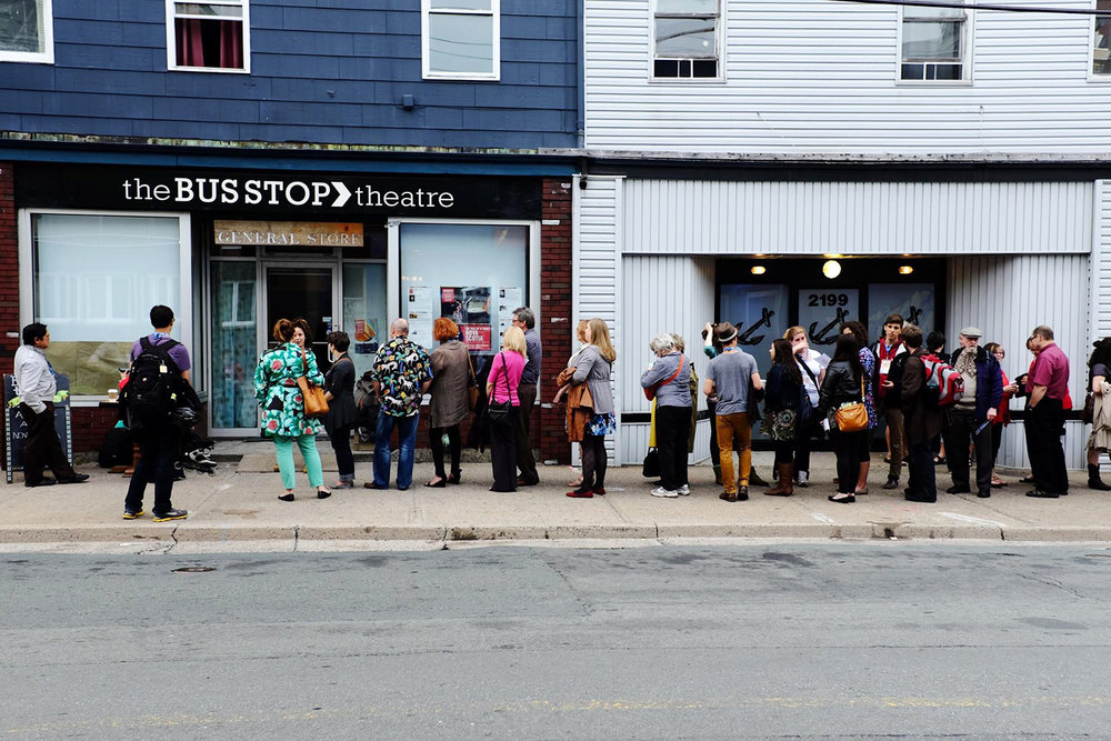 The Tale of a Town Nova-Scotia Performance Audience Line-up at The Bus Stop Theatre Co-op