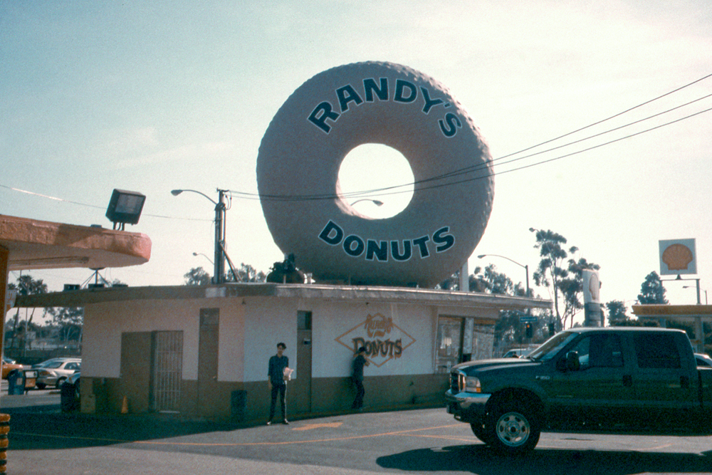 Grandma and I at Randy's Donuts in Los Angeles, 2013