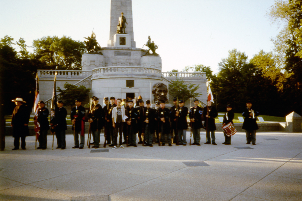 Grandma and I with the 114th Illinois Volunteer Reactivated Infantry at Lincolns Tomb, Springfield, IL, 2014