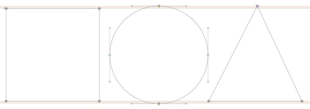 Image Two: Squares, Circles and Triangles will look to be the same size if overshoot is not included. GlyphsApp provides visual guides for where to place the overshoot.