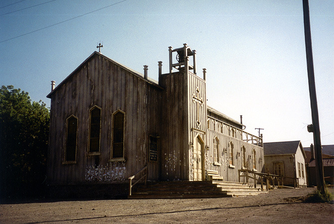 The San Ramos Catholic church and rectory interior/exterior set built on empty lot. The story called for a seriously dilapidated church in a dying desert town.  (Church photos by  Lance Clayton )