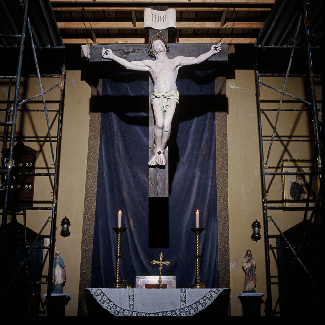 Detail of the large Christ figure and crucifix we had sculpted for the interior of the San Ramos church build.