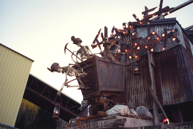 Detail of the runaway skeleton mine cart for the entrance of Park City Silver Mine's Halloween event.