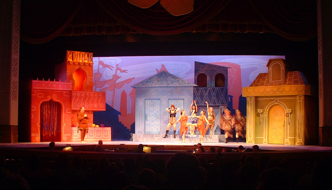Here is a wide shot during the opening musical number. Each colorscape instantly tells the story of each of the three iconic houses.
