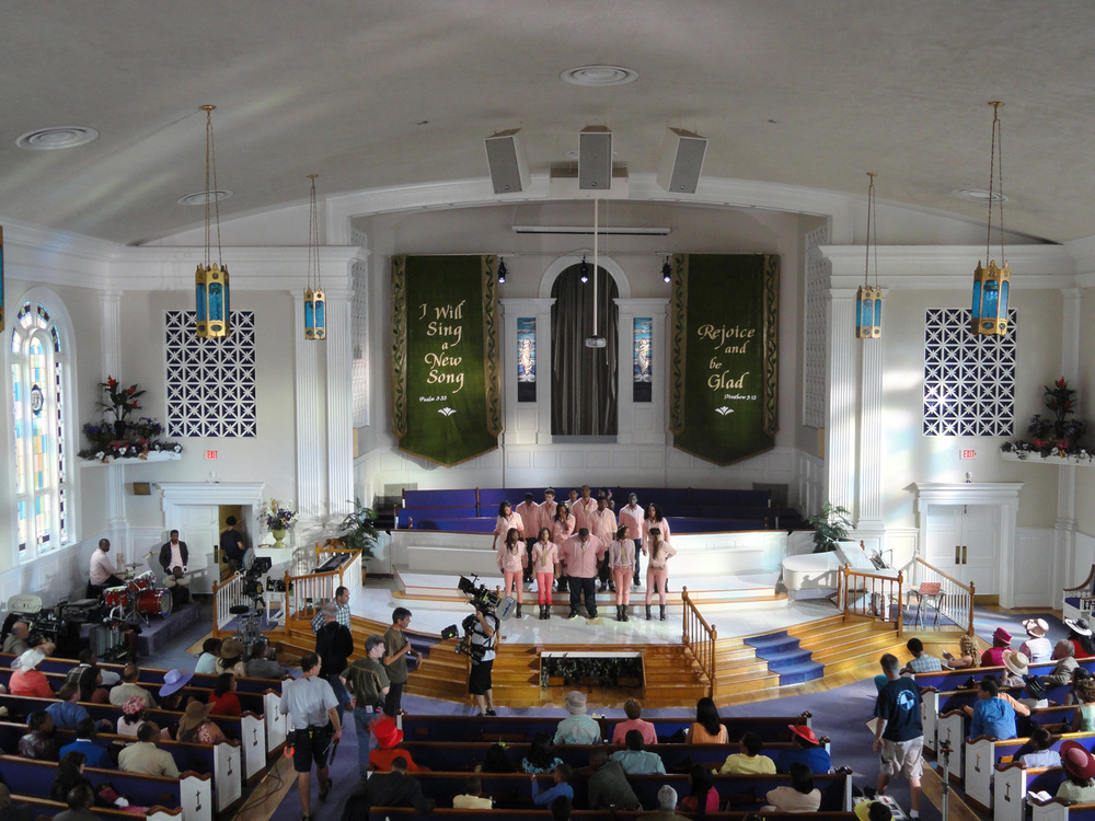 Let It Shine is a modern, hip hop retelling of Cyrano De Bergerac. Much of the story centers around  young poet Cyrus (Tyler James Willimas) and his relationship with his conservative, Baptist minister father (Courtney B. Vance). Here is a view of his church, with a rather complicated stage build in it.