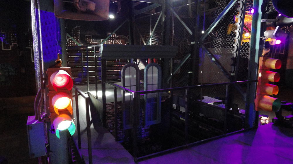 A detail of the DJ booth perched behind the rap-battle stage in club Off the Street.