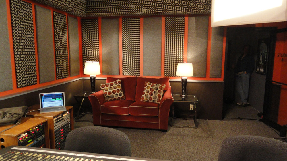 A reverse in the recording studio room.