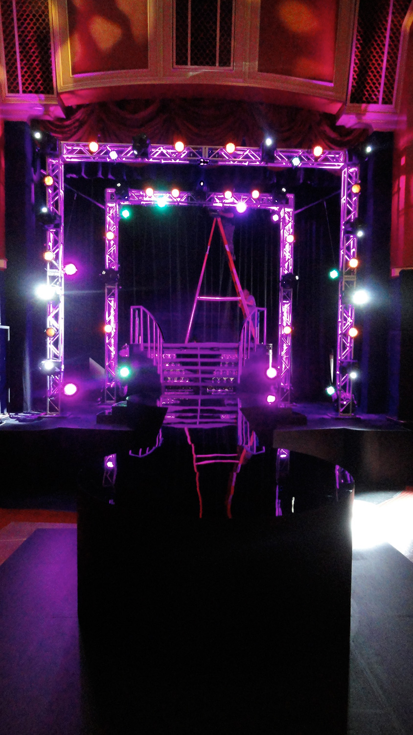 Elongated rap battle stage and stairs for the final, marquee rap competition.