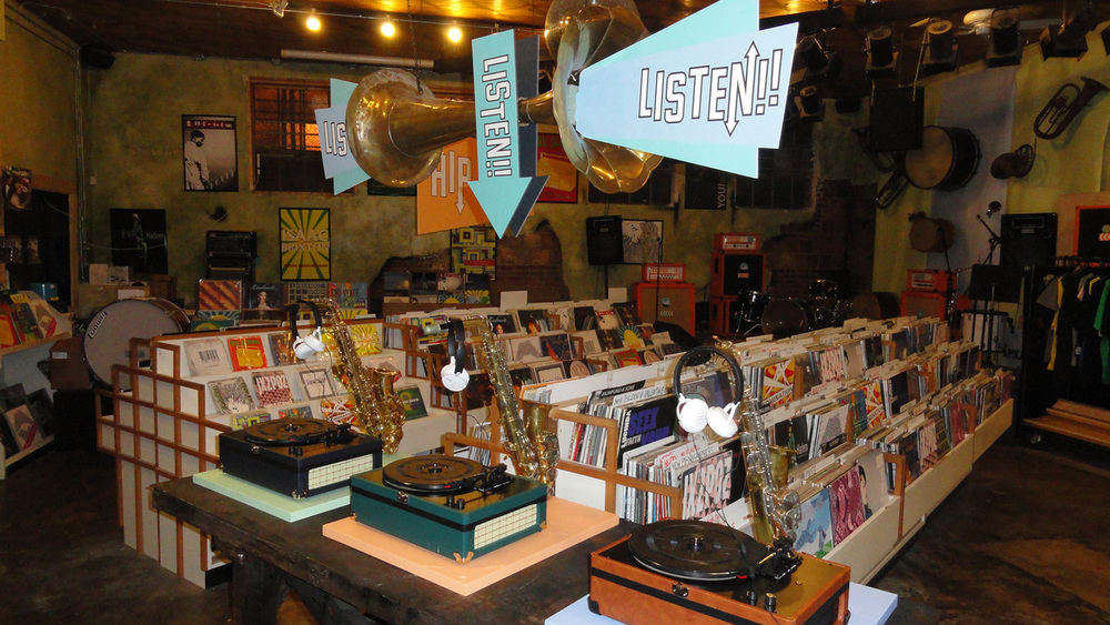 Cute listening station in our fictional record shop.