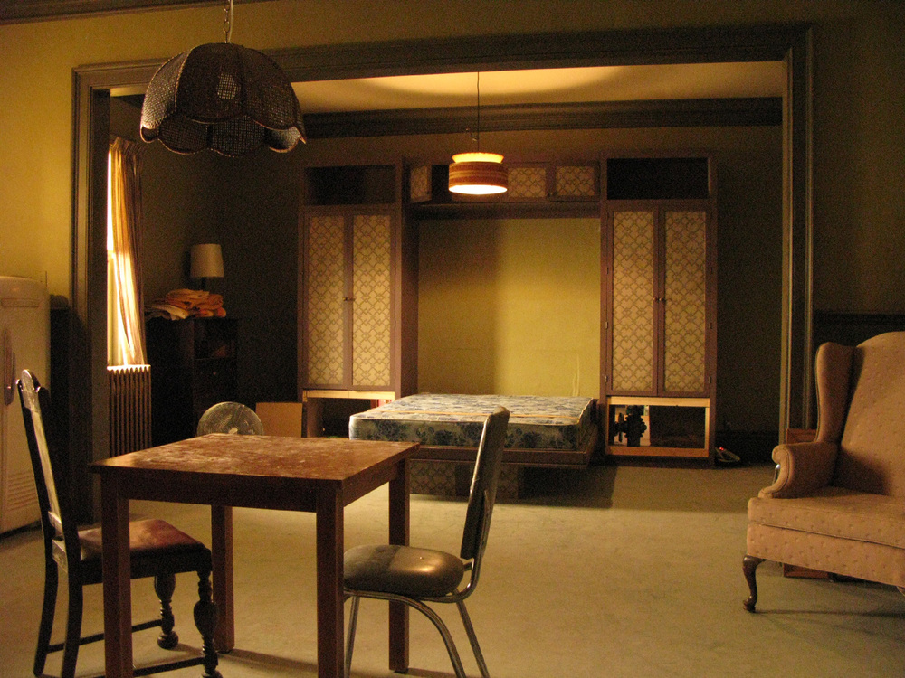 A view into Sharpay's (Ashley Tisdale) horrible studio apartment stage set, complete with built-in murphy bed.