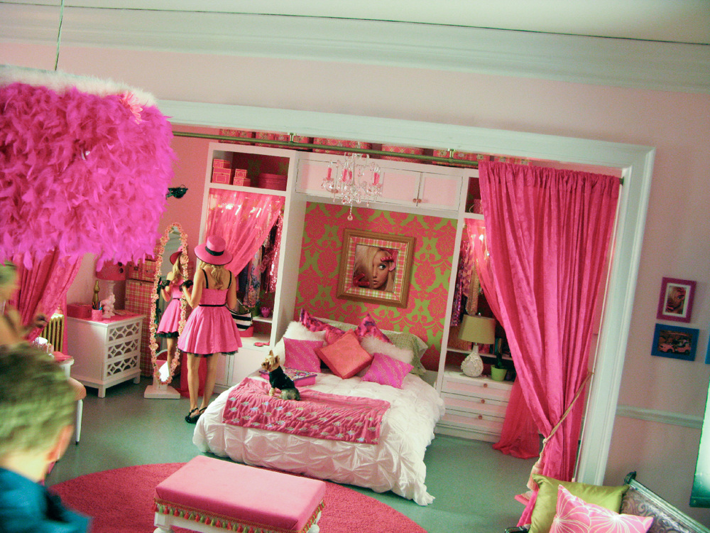 Another angle of the murphy bed in Sharpay's (Ashley Tisdale) transformed apartment, this time on the morning of shoot with the proper lighting. The murphy bed was a running gag that kept swallowing her up as she slept.