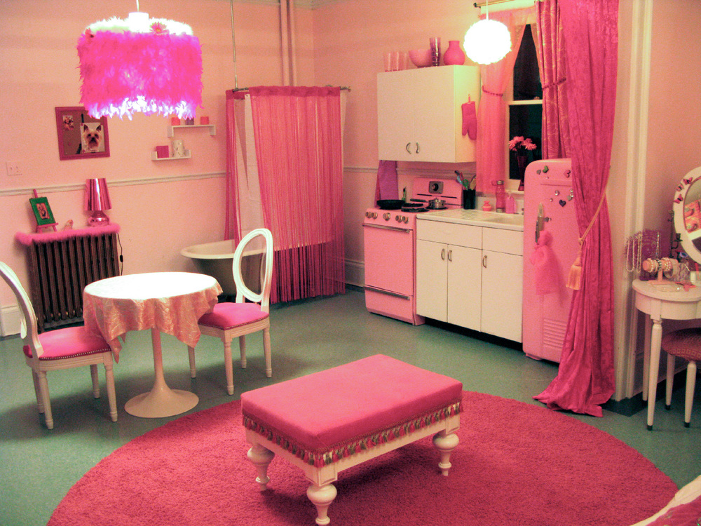 A reverse of Sharpay's (Ashley Tisdale) transformed apartment, showing even her horrible 1960's appliances made delightfully pink.
