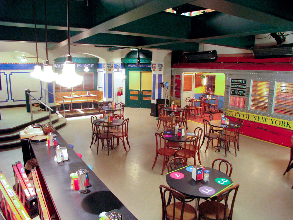Reverse of the Russo family sandwich shop interior/exterior stage set, note the subway-dining car element. This is a detachable, fully gimbaled unit used in a fantasy runaway train sequence.