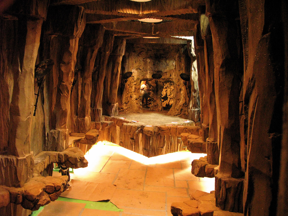 Reverse of the cave. The entry end and paint finish were made to match an amazing natural cave system in Puerto Rico we used to lead our hero's deep into this magically hewn hiding place.