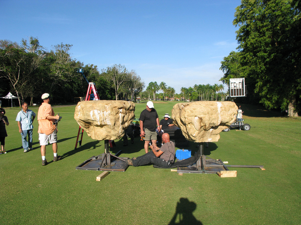 """Floating"" stones, built on our efx crew's brilliant universal hydraulic gimbals, magically carried our hero's (David Henrie & Selena Gomez) across the yawning chasm. We actually used this golf course fairway as a natural green screen."