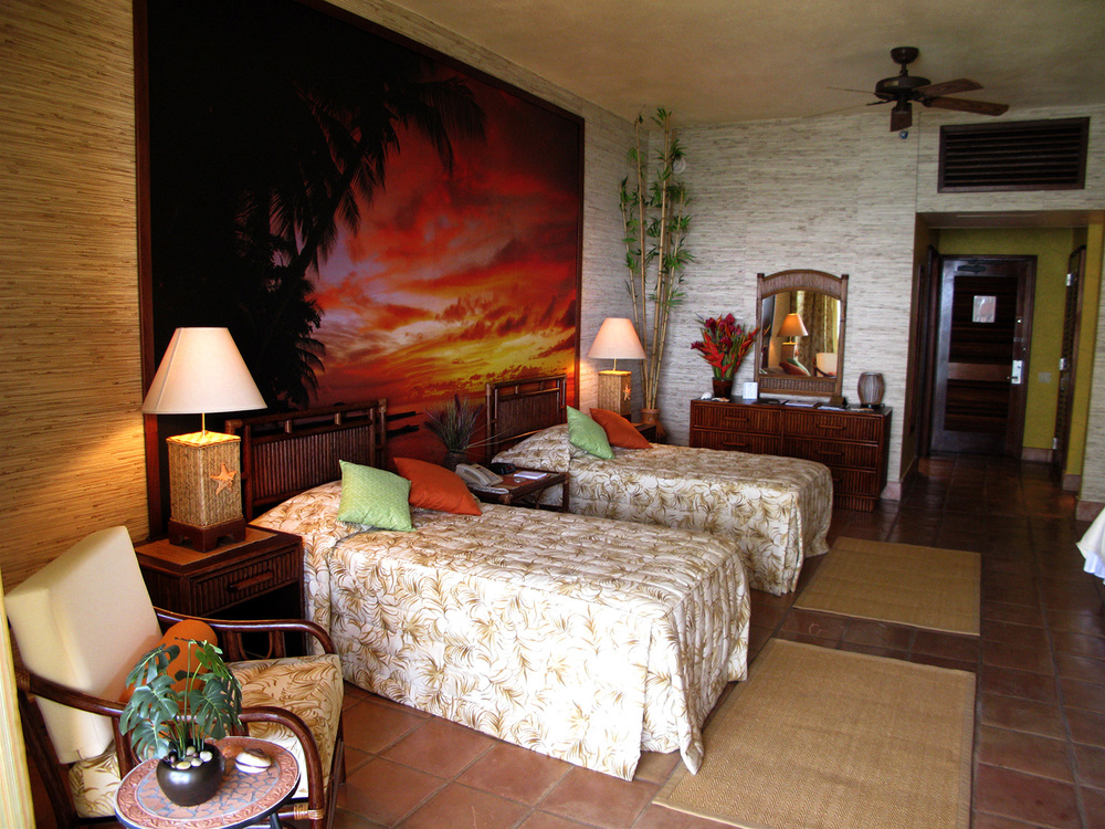 Tropical resort hotel room for the Russo kids (Selena Gomez, Dvid Henrie & Jake T. Austin).
