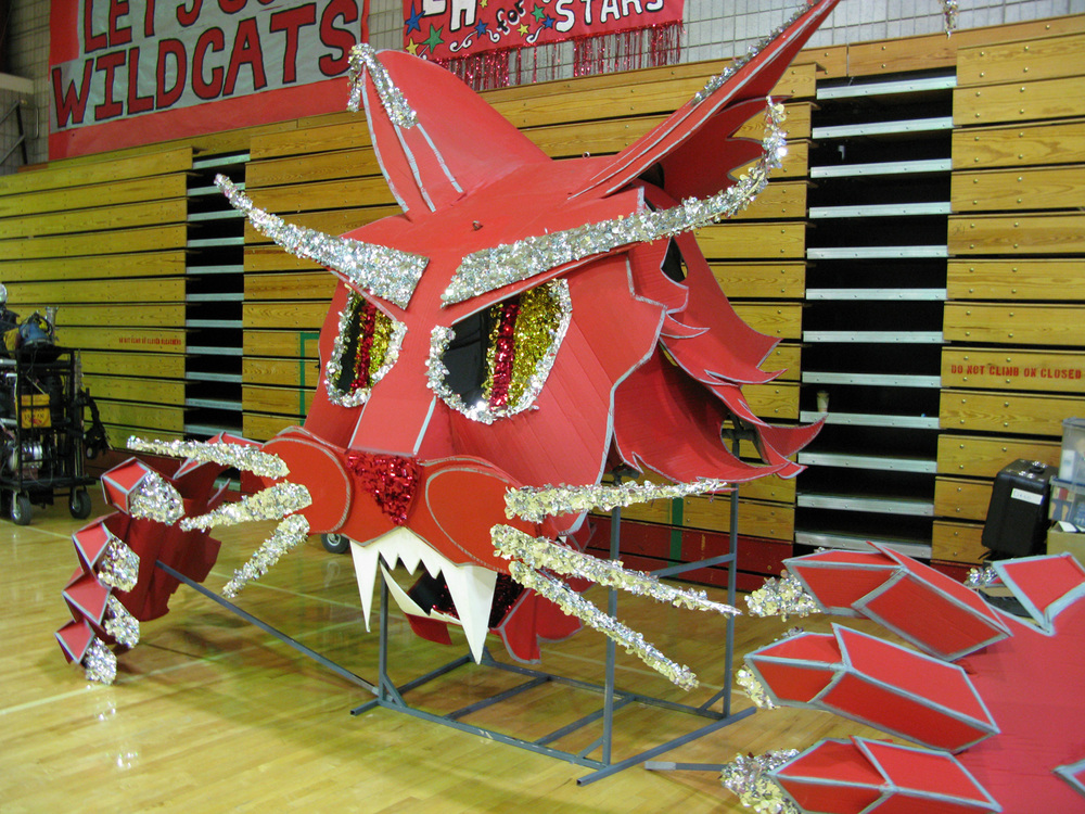 Oversized Wildcat puppet for the opening basketball game against the rival knights.