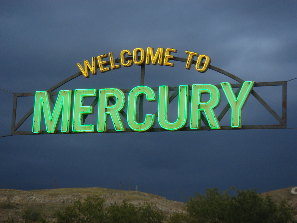 The huge welcome to Mercury spanned our main street.