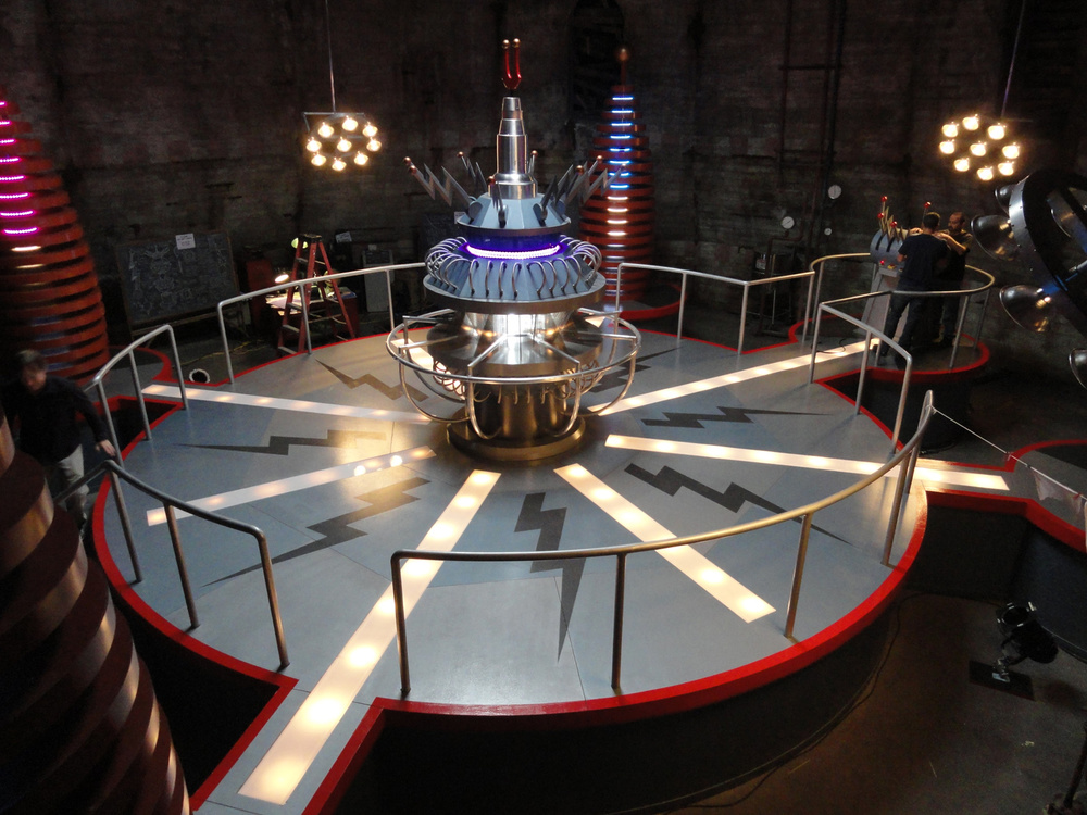 "The completed weather control machine hidden inside an abandoned light house set. The central machine spun in two different directions and had telescopic elements. VFX added Godzilla-style lightening bolts from the four surrounding ""Atomic Piles"" to the center of the whirling machine."