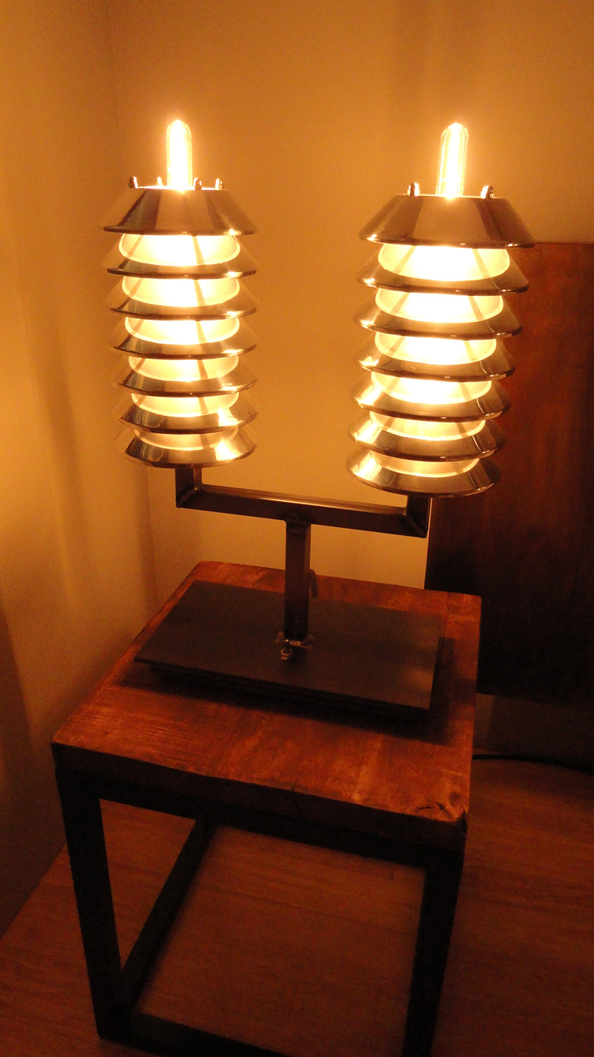 "Another shot of the Atomic Pile table lamps. I think the 11"" bulbs poking out the top give them a nice Frankenstein's lab flair."