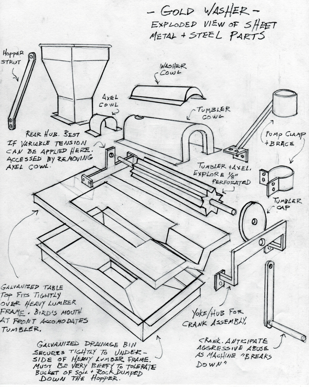 A sketch of the sheet metal and steel parts we would need to bend for the gold washer.