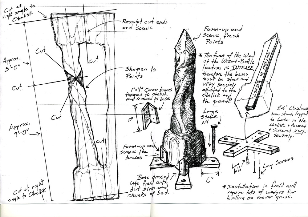 "This working drawing illustrates how we pulled the ""stone"" columns out of the ""Wizard Cave"" and re-purposed them to be used as the obelisks for the Wizard Battle"" scene from ""The Wizards of Waverly Place: The Movie"" (2009)."