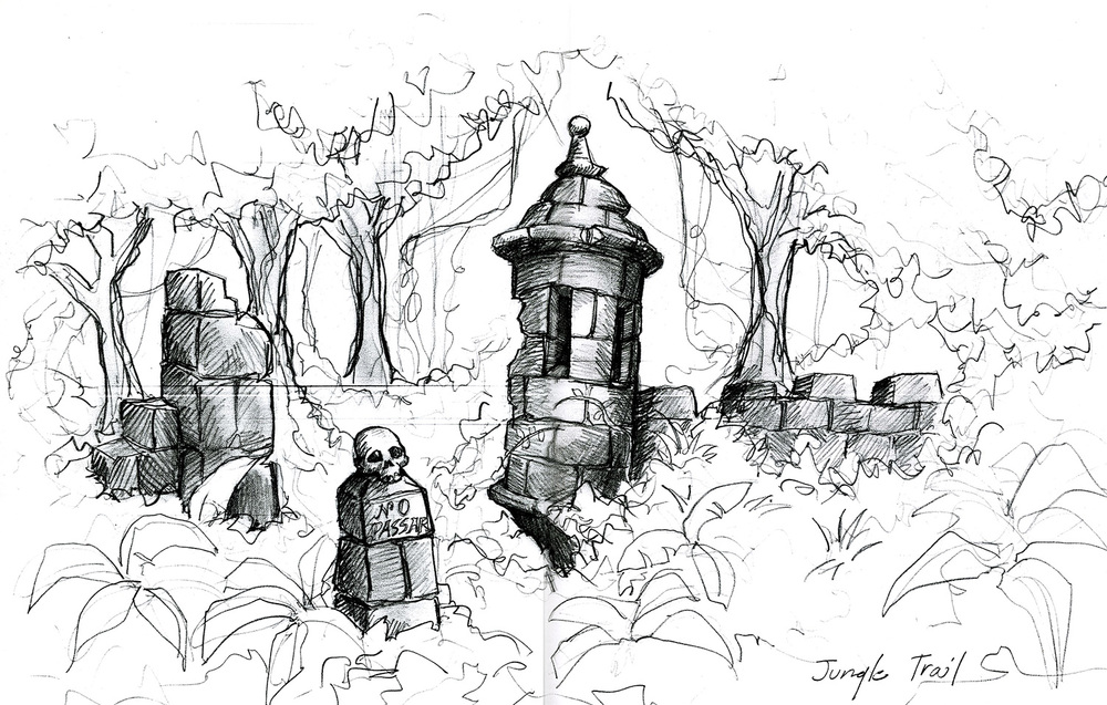 "A conceptual drawing for a ruined ""Garita"" that guard's the beginning of a magical path through the jungle in ""The Wizards of Waverly Place: The Movie"" (2009)."