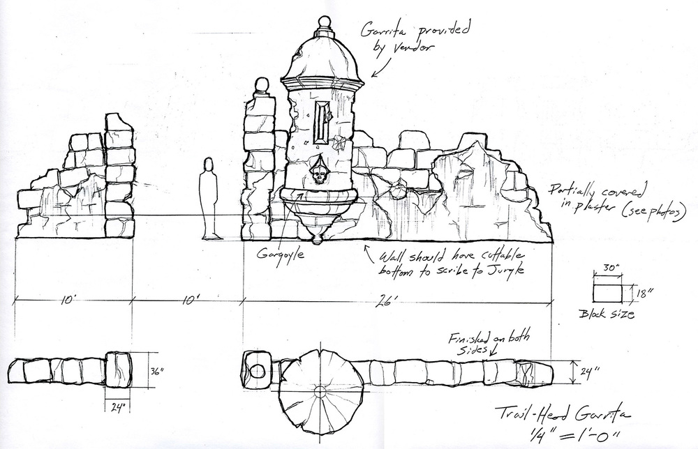 "A working drawing based on the conceptual drawing of the ruined ""Garita"" from ""The Wizards of Waverly Place: The Movie"" (2009)."